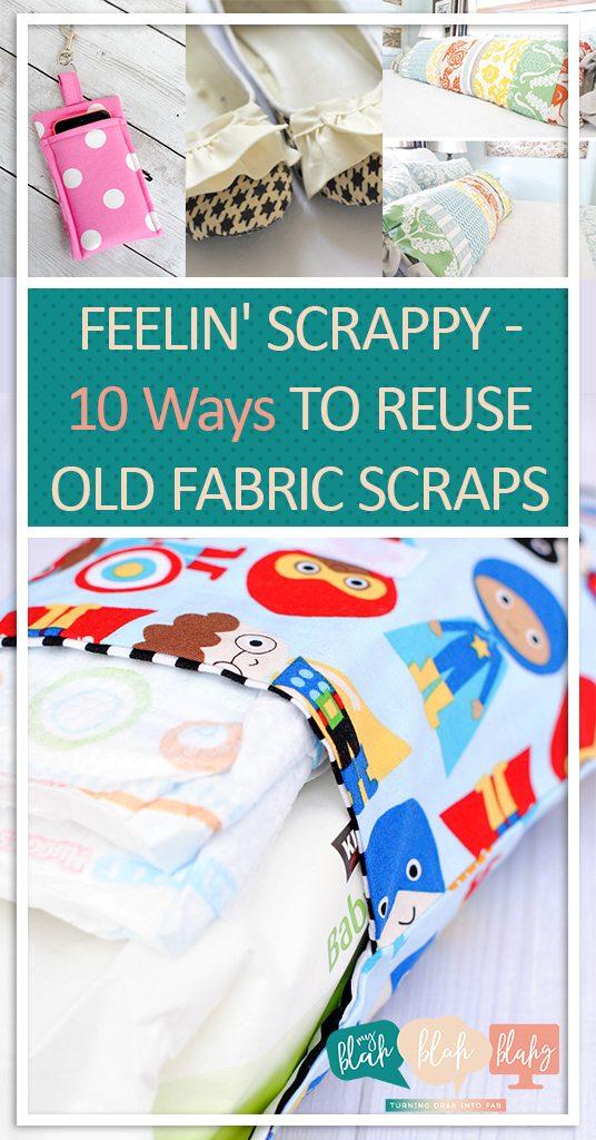 Feelin' Scrappy? 10 Ways to Reuse Old Fabric Scraps| How to Reuse Old Fabric Scraps, Craft Projects, Crafting With Fabric Scraps, How to Craft With Fabric Scraps, DIY Stuff, Easy DIY Projects, Afternoon DIY Projects, No Sew Craft Projects, Popular Pin