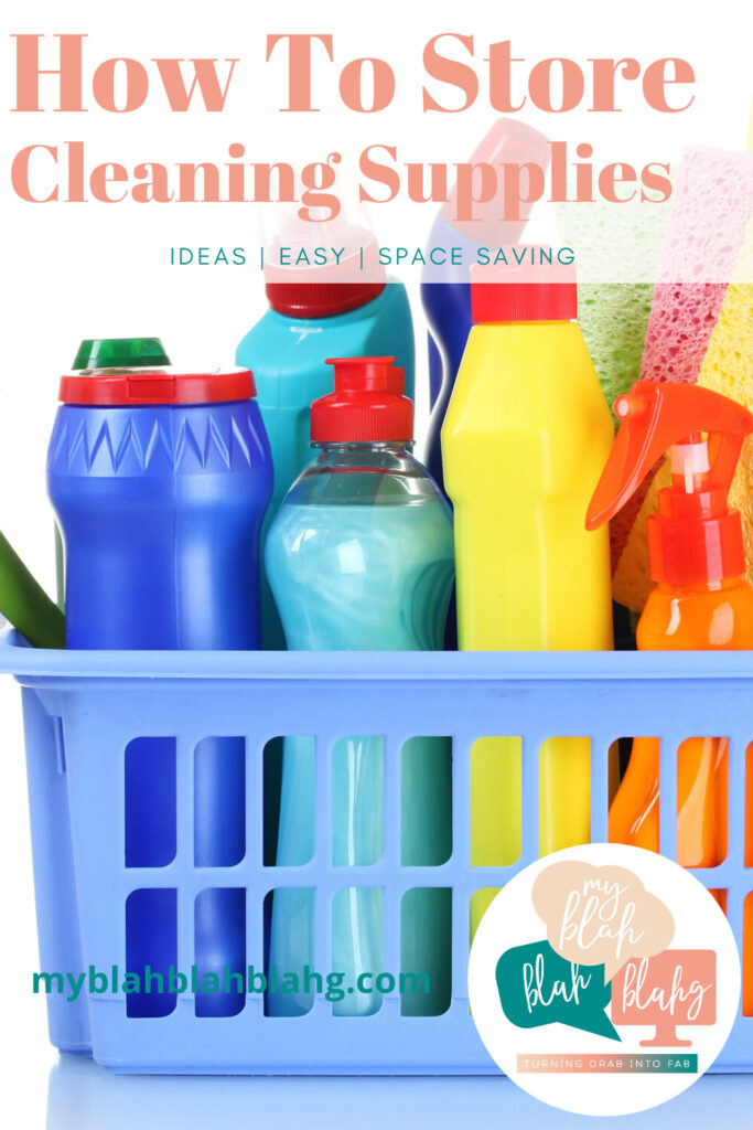 Cleaning supplies in plastic bin