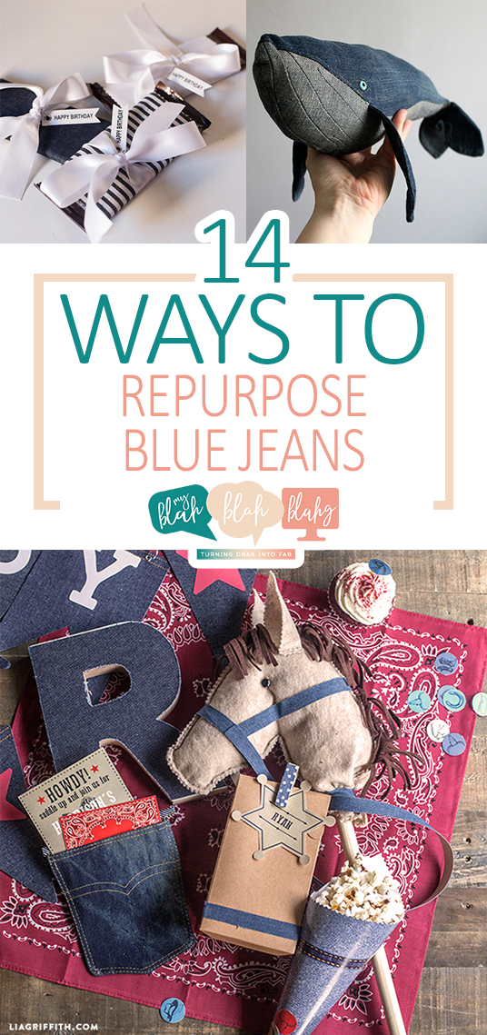 14 Ways to Repurpose Blue Jeans| How to Reuse Blue Jeans, Things to Do With Old Blue Jeans, Crafting With Old Blue Jeans, How to Repurpose Old Clothes, Craftng With Old Clothes, Crafts, Craft Hacks, Crafting Tips and Tricks