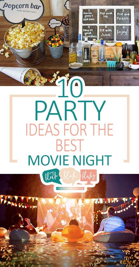 10 Party Ideas for the Best Movie Night| Movie Night Party Ideas, Throw A Movie Party, How to Throw a Movie Party, Party Ideas, Party Hacks, Cheap Party Ideas, DIY Party Ideas, Popular Pin