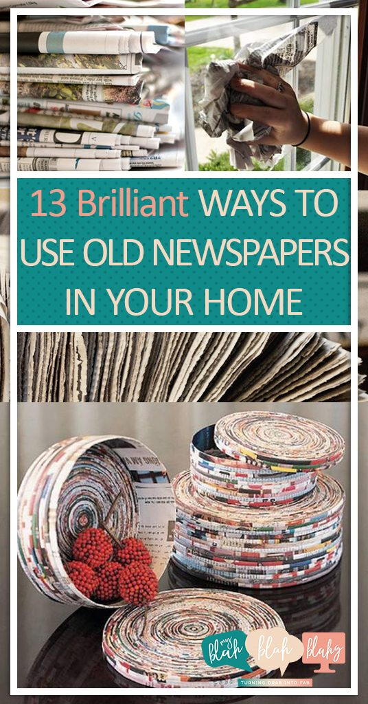 13 Brilliant Ways to Use Old Newspapers In Your Home  How to Use Newspapers In Your Home, How to Repurpose Newspapers, Uses for Newspapers, Repurpose Projects, Popular Pin. #Newspaper #RepurposeCrafts #RepurposeProjects