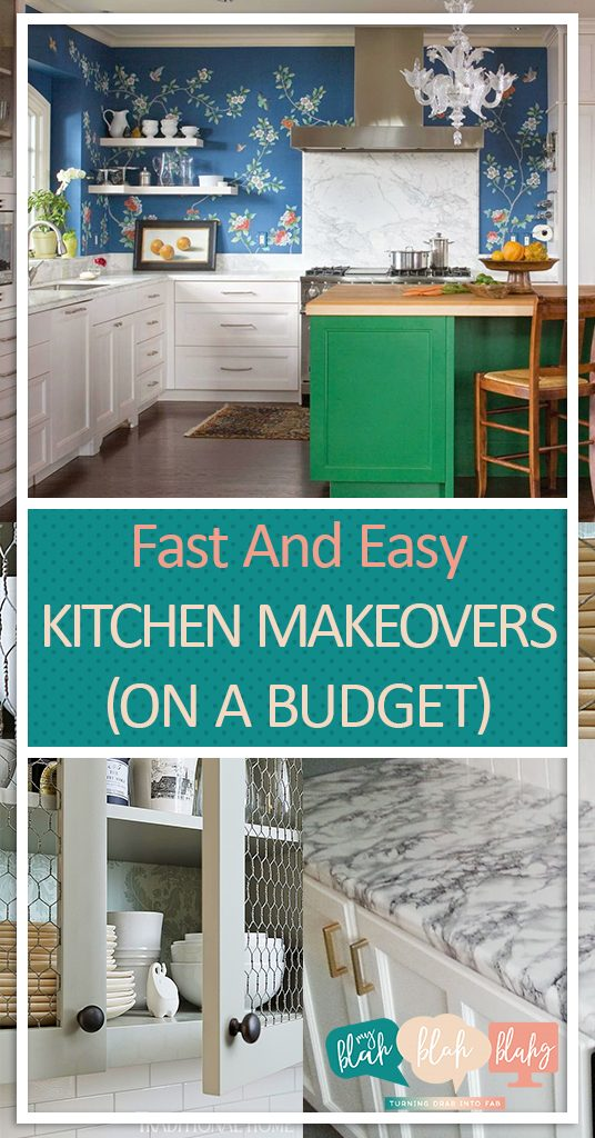 Fast And Easy Kitchen Makeovers (On A Budget)  Kitchen Makeovers, Easy Kitchen Makeovers, DIY Kitchen Improvements, Kitchen Improvements, Fast Home Improvements, Home Improvement Hacks, Popular Pin #HomeImprovement #KitchenImprovement #KitchenImprovementTips