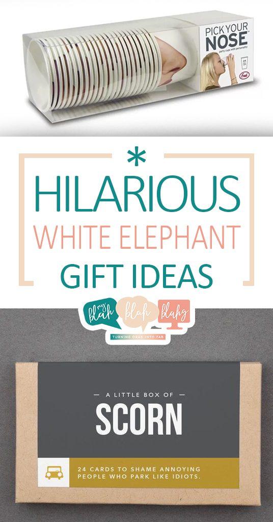 Hilarious White Elephant Gift Ideas  White Elephant, White Elephant Gifts, Gift Ideas, DIY Gifts, White Elephant DIYs, Holiday, Holiday Gifts, Holiday Gift Ideas, Popular Pin #GiftIdeas #DIYGifts