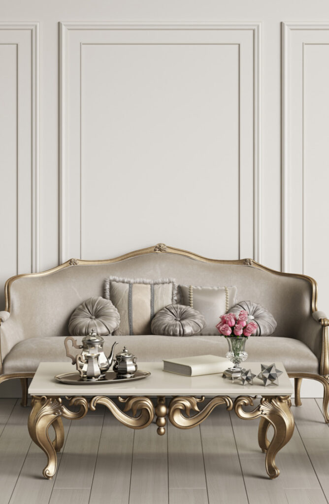 This couch and table with metallic gold accents is so dreamy! Whether you opt for champagne, silver, gold, copper, or pewter, you can't go wrong with metallic painted furniture.