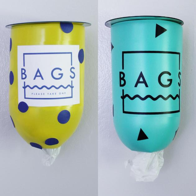 Geometric And Confetti Plastic Bag Holder Dispenser Sq