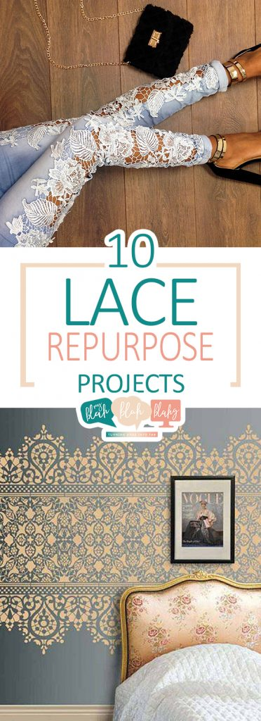 Terrific ways to repurpose lace in these DIY crafts.| Lace Projects, DIY Lace Projects, Lace Crafts, Easy Lace Crafts, Repurpose Lace, Crafts, Easy Crafts, No Sew Crafts, No Sew Craft Projects, DIY Home, DIY Home Projects, Easy Projects, Popular Pin #RepurposeProjects #Crafts #LaceCrafts