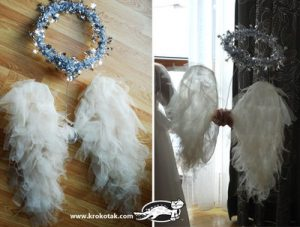 How to Reuse hangers-wire hangers make great forms for angel wings. Simply shape the wire and apply feathers