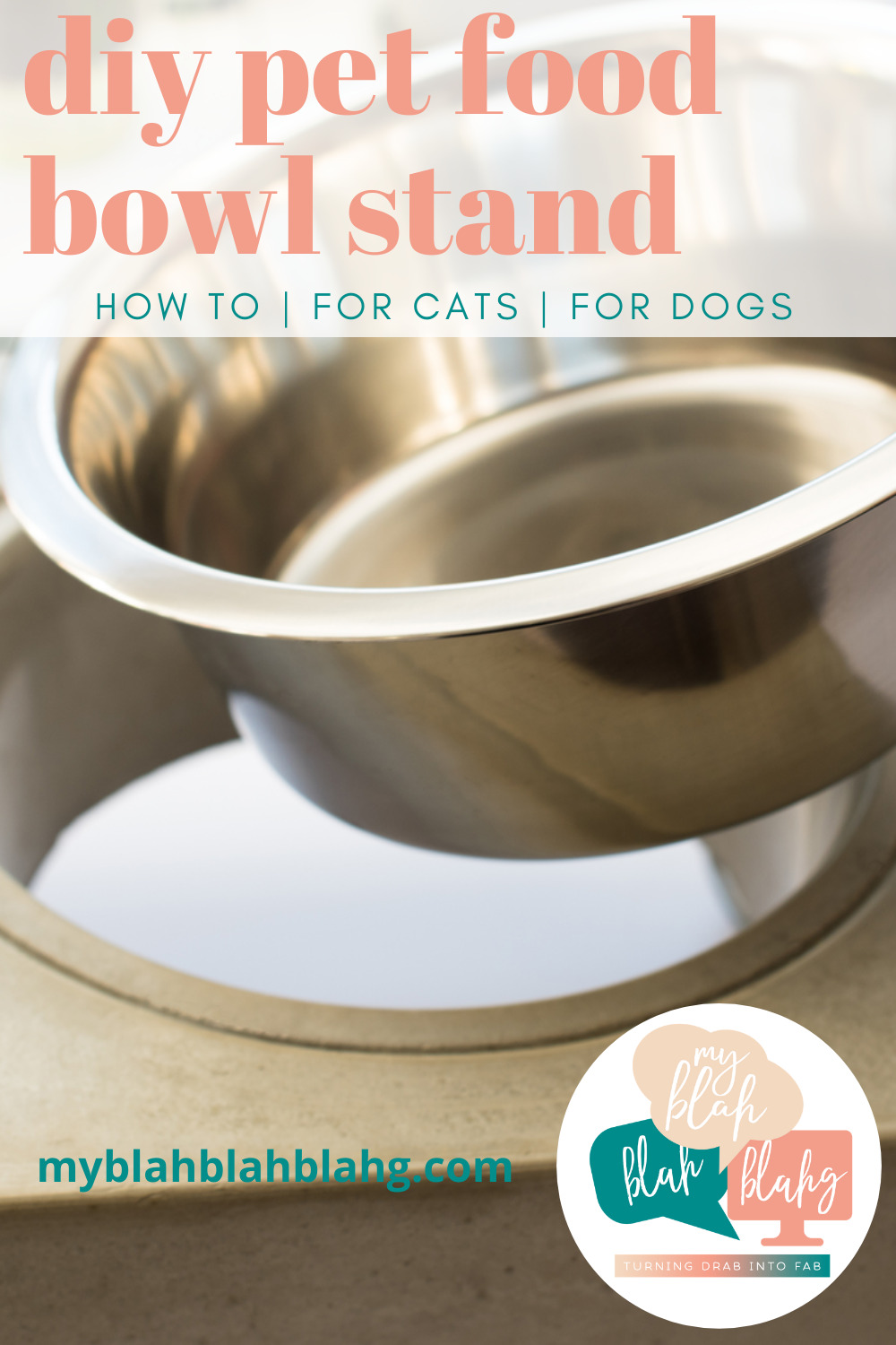 Make simple pet food bowls look a little more chic with one of the DIY pet food bowl stands below. These pet food bowls are super easy to make and you'll love how they look. #diy #home #myblahblahblahgblog