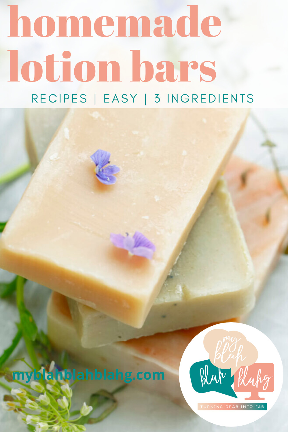 Homemade lotion bars make perfect gifts for friends and family. Not only are they a great DIY, but they are totally customizable! Come check out how to make your own homemade lotion bars. #MyBlahBlahBlahg #HomemadeLotionBars #NaturalLotionBars #NonBeeswaxLotionBars #3IngredientLotionBars