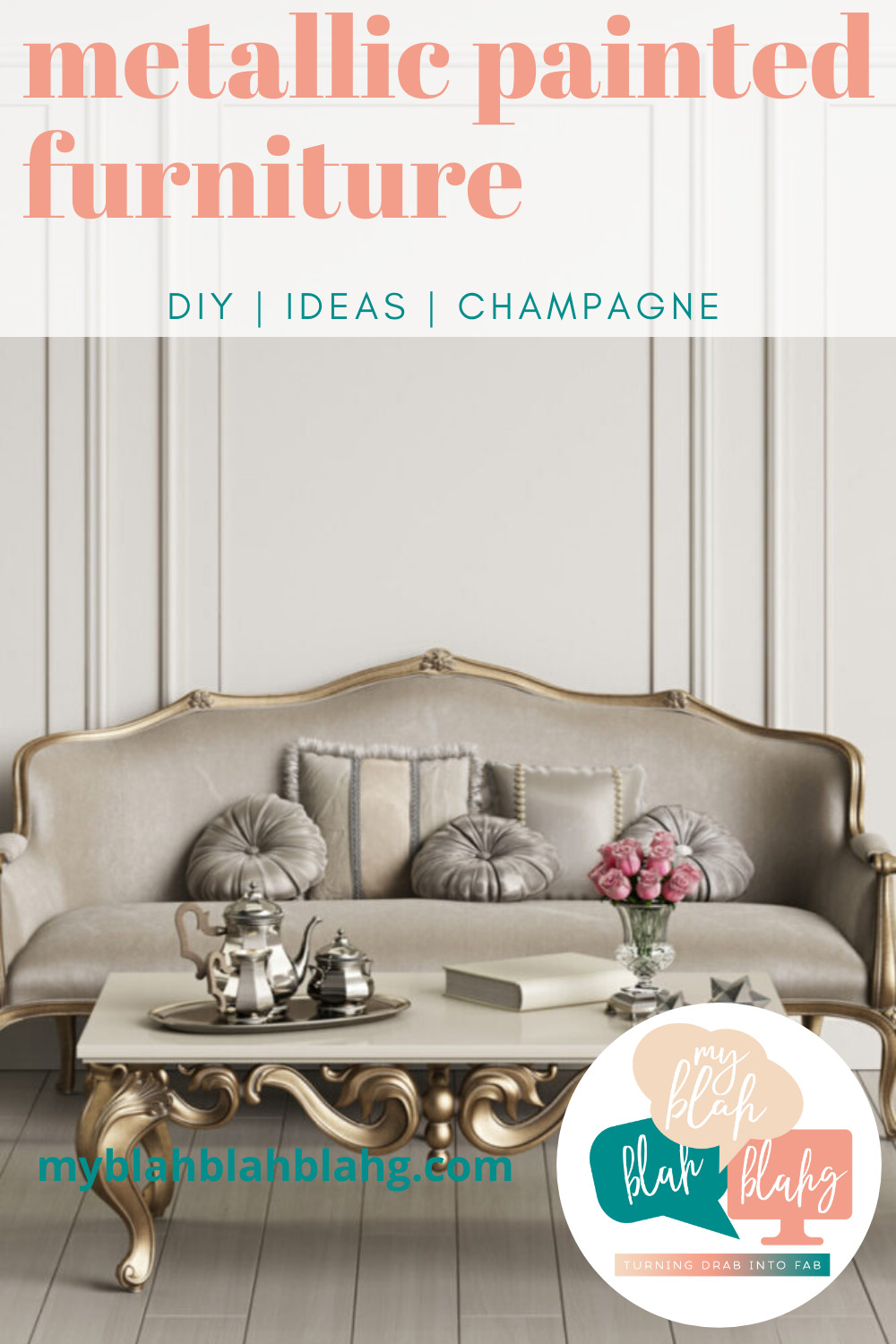 Ready to update your space? Then you should try adding some metallic accents! Check out our DIY tutorial. #MyBlahBlahBlahg #DIYMetallicPaintedFurniture #MetallicFurnitureRefinish #MetallicPaintedFurnitureIdeas