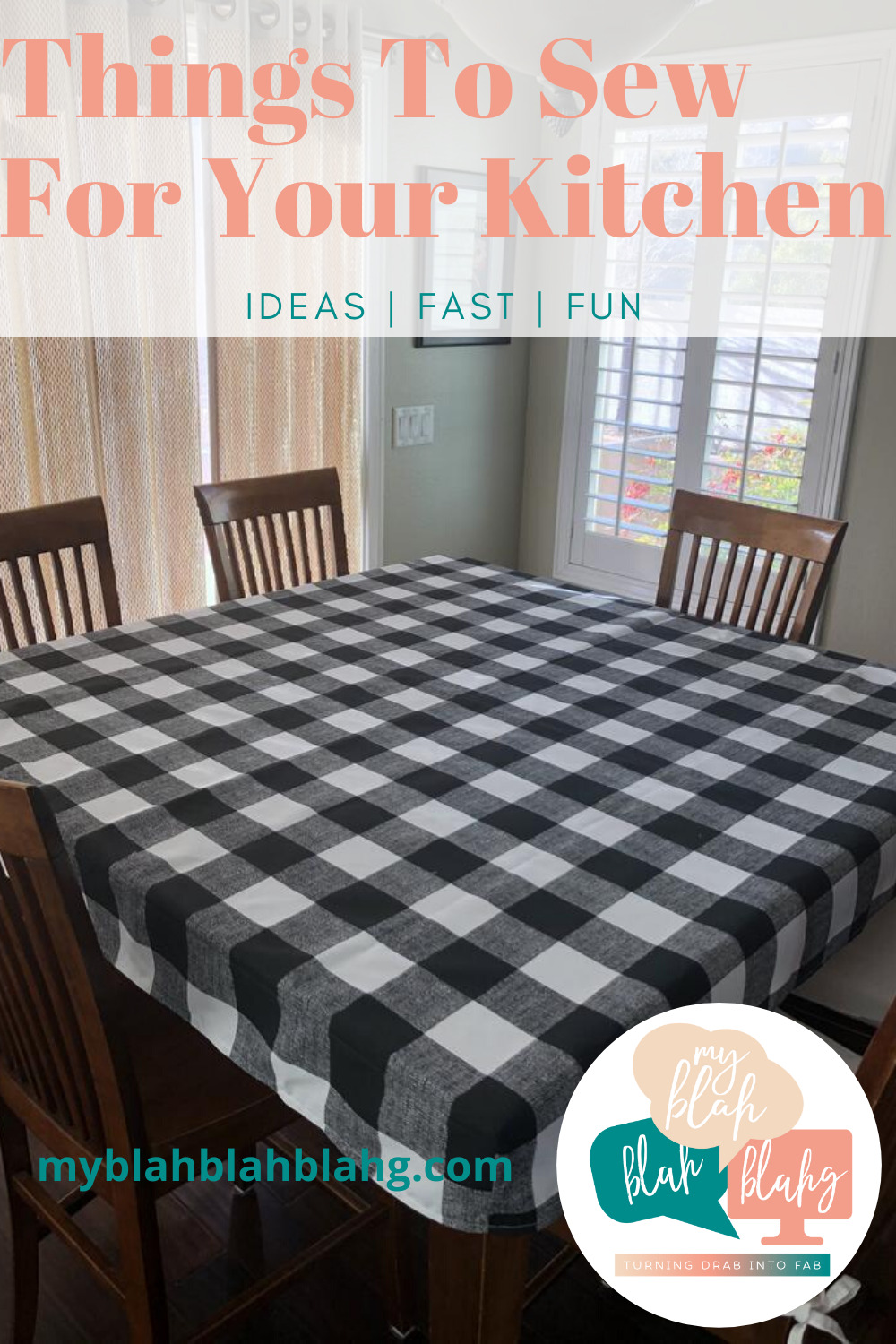 Why buy when you can make them yourself? 12 Things to sew for your kitchen that you need to see. Towels, hot pads, aprons and tablecloths are easy to make and can save you money over buying. #myblahblahblahgblog #thingstosewforyourkitchen #sewingprojects