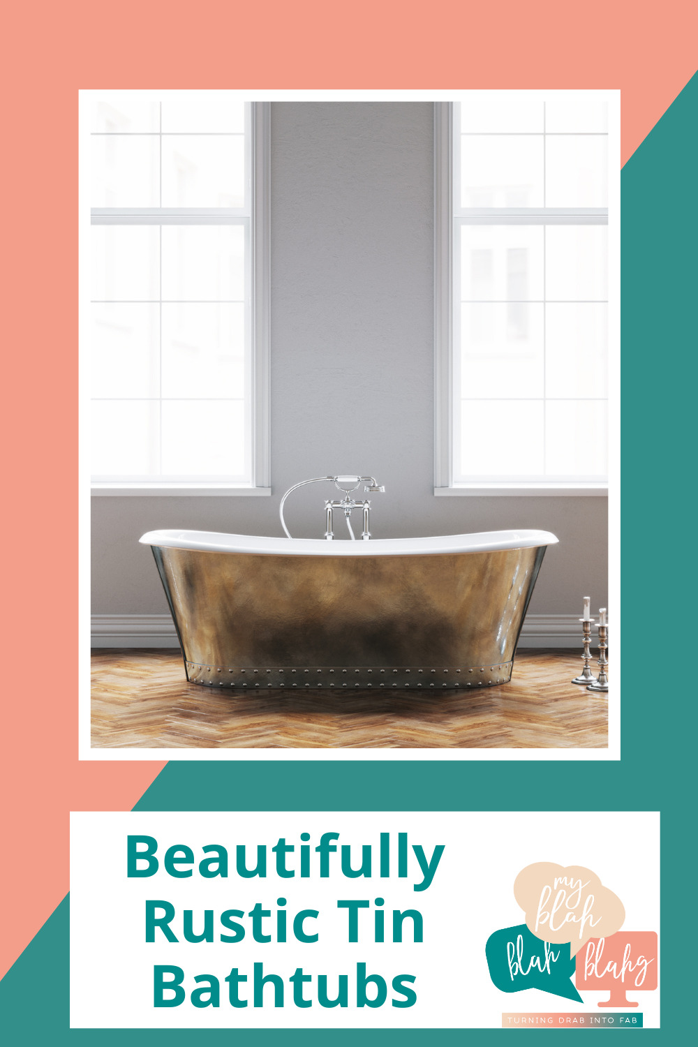 Myblahblahblahg.com has endless ideas for someone with any kind of taste! If you love the look of a modern farmhouse, bring that rustic charm into the bathroom, too! These tin bathtubs will be the perfect finishing touch!