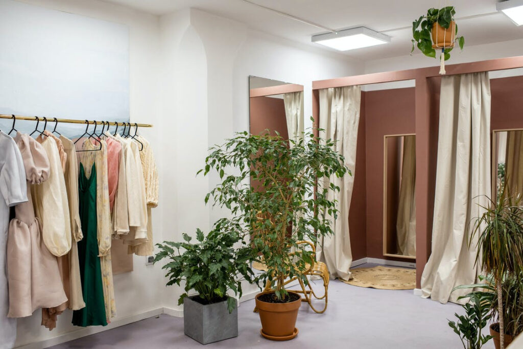 curtained closet doors in a home