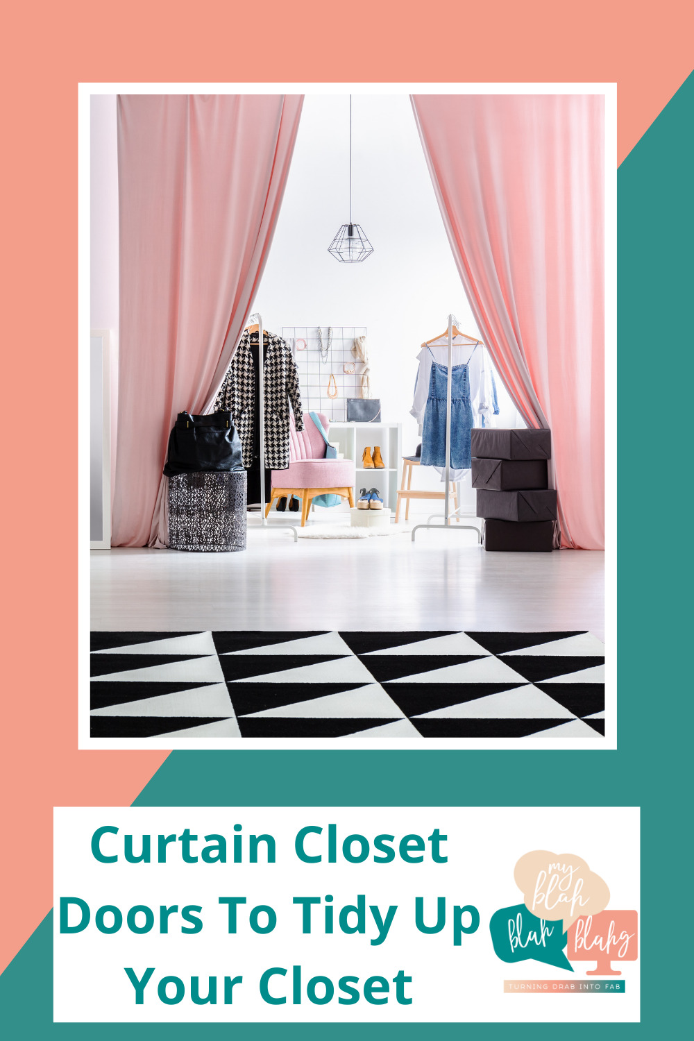 Myblahblahblahg.com has an eclectic compilation of tips and hacks to make all parts of your life easier. Find loads of ideas for creative and effective organization solutions. Learn how you can tidy up your closet space by concealing it with a curtain!